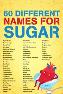 A list of the other names of sugar