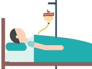 A patient being giving an IV infusion of alcohol